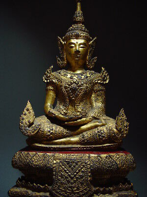 ANTIQUE BRONZE MEDITATING CROWNED RATTANAKOSIN BUDDHA. TEMPLE RELIC 18/19th C 10