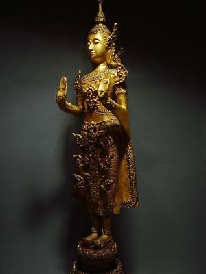 ANTIQUE BRONZE STANDING CROWNED RATTANAKOSIN BUDDHA. TEMPLE RELIC 18/19th C. 6