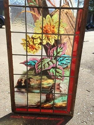 Very Rare French Pair of Painted and Fired Stained Glass Windows Double Sided 5