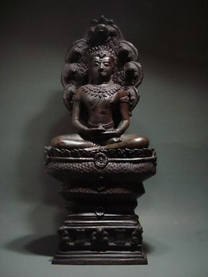 BUDDHA SHELTERED  BY NAGA'S HOOD, LOPBURI ART STYLE, 19/20th C. 2