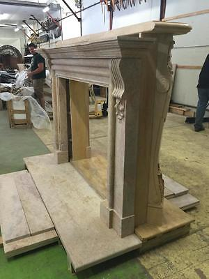 Beautiful Large Hand Carved Marble Estate Fireplace Mantel - Jd604 7