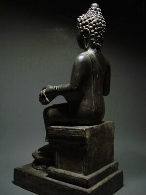 ENTHRONED BRONZE MON DVARAVATI BUDDHA 'EUROPEAN STYLE'. BURMA INFLUENCE 17/18thC 5