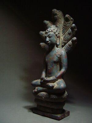 A  RARE BRONZE DVARAVATI NAGA PROTECTED BUDDHA. MON DVARAVATI ART 10th C. 2