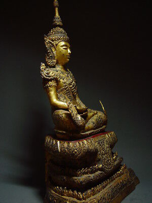 ANTIQUE BRONZE MEDITATING CROWNED RATTANAKOSIN BUDDHA. TEMPLE RELIC 18/19th C 7