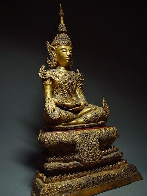 ANTIQUE BRONZE MEDITATING CROWNED RATTANAKOSIN BUDDHA. TEMPLE RELIC 18/19th C 8