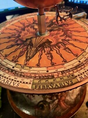 DRAGONS /& SEA SERPENTS ORRERY MEDIEVAL DESIGN ANTIQUED CANVAS SOLAR SYSTEM MODEL
