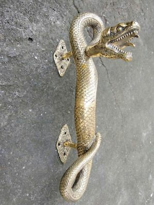 2 SNAKE Python hollow real brass door PULL old style POLISHED pair handle 35cm B 10