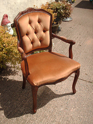 Antique Style Open Armchair With Floral Carving 8