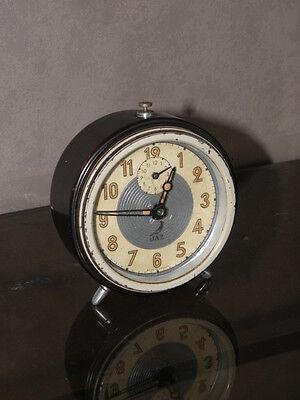 vintage clock alarm jaz retro desk  Art Deco design  Mechanics uhr old french 6