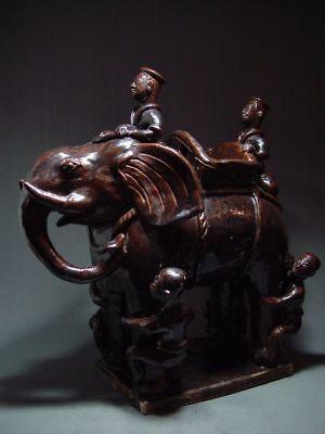 RARE ANTIQUE ROYAL WAR ELEPHANT SAWANKHALOK POTTERY, SI SATCHANALAI KILN 16th C.