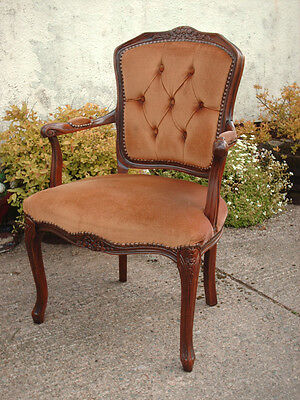 Antique Style Open Armchair With Floral Carving 2