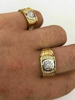 Men's 14k Gold & Real Solid 925 Silver Diamond RING Size 7 8 9 10 11 12 13 ICY 3