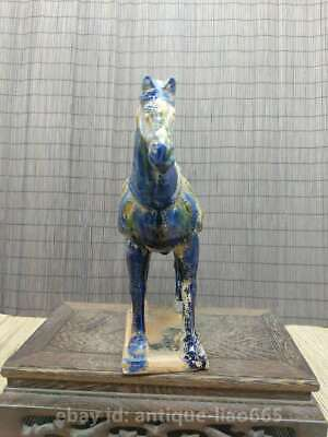 Collect Chinese Ceramics Tri-Color Glazed Pottery Tang Dynasty War-horse Statue 2