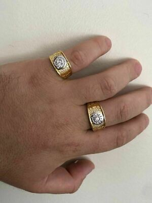 Men's 14k Gold & Real Solid 925 Silver Diamond RING Size 7 8 9 10 11 12 13 ICY 9