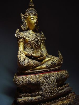 ANTIQUE BRONZE MEDITATING CROWNED RATTANAKOSIN BUDDHA. TEMPLE RELIC 18/19th C 9