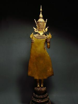 ANTIQUE BRONZE STANDING CROWNED RATTANAKOSIN BUDDHA. TEMPLE RELIC 18/19th C. 8