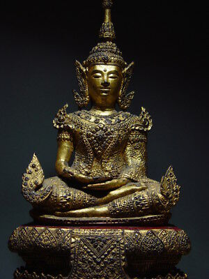 ANTIQUE BRONZE MEDITATING CROWNED RATTANAKOSIN BUDDHA. TEMPLE RELIC 18/19th C 2