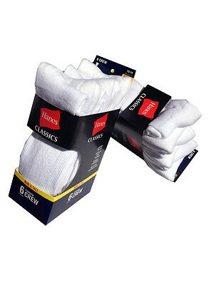 Hanes Men's BIG & TALL 6 paris cushion Crew white socks fit shoe size 12-14 6