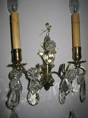 Pair of Antique French Bronze & Austrian Crystal Wall Sconces Recently Rewired