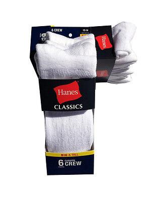 Hanes Men's BIG & TALL 6 paris cushion Crew white socks fit shoe size 12-14 7