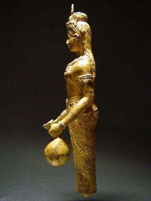 ANTIQUE BRONZE STATUE OF A FEMALE DEVATA, 'NANG KWAK', WEALTH GODDESS. 19/20th C 4