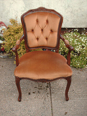 Antique Style Open Armchair With Floral Carving 10