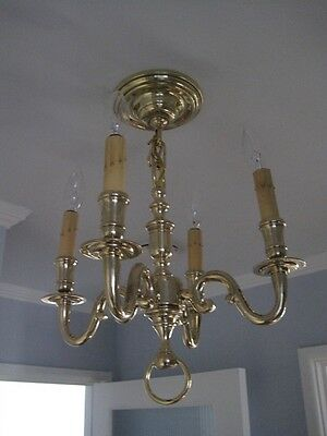 Antique Cast Polished Brass Chandelier 4 Light Scrolled Arms c1920 (2 Available) 3