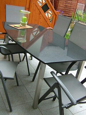 Outdoor Tisch Gartentisch Edelstahlgestell Natursteinplatte Platte