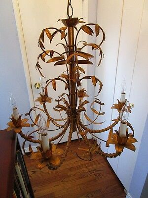Mid Century Italain Faux Bamboo Gold Gilt on Iron Chinese Regency Chandelier1960 2