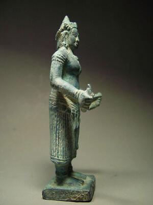 KHMER BRONZE FEMALE DEITY FIGURE, ANGKOR WAT 'BAYON' STYLE, CAMBODIA 17th C. 8