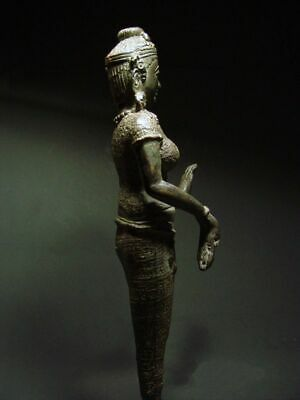 ANTIQUE BRONZE KHMER CELESTIAL HINDU GODDESS, PALA INFLUENCE. 19/20th C. 7