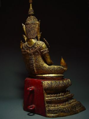 ANTIQUE BRONZE MEDITATING CROWNED RATTANAKOSIN BUDDHA. TEMPLE RELIC 18/19th C 6