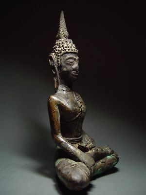 ANTIQUE BRONZE MEDITATING  SAKYAMUNI ' LAN CHANG' BUDDHA, LAOTIAN ART 9/10th C. 7