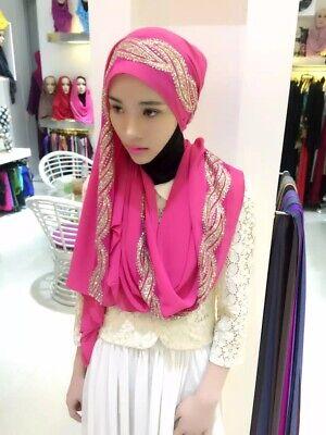 Muslim Women Hijab Rhinestone Long Scarf Islamic Shawls Head Wrap Scarves Shayla 9