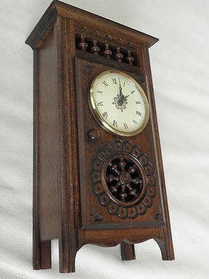 STUNNING ANTIQUE MINIATURE wood MANTLE CLOCK vintage retro uhr 8