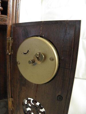 STUNNING ANTIQUE MINIATURE wood MANTLE CLOCK vintage retro uhr 10