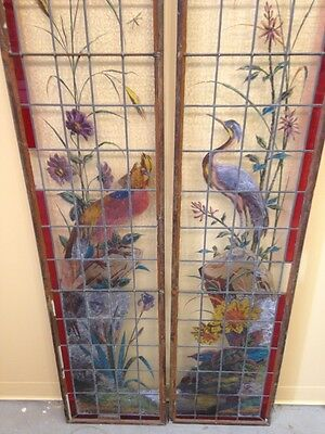 Very Rare French Pair of Painted and Fired Stained Glass Windows Double Sided 9