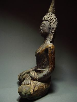 ANTIQUE BRONZE MEDITATING  SAKYAMUNI ' LAN CHANG' BUDDHA, LAOTIAN ART 9/10th C. 3