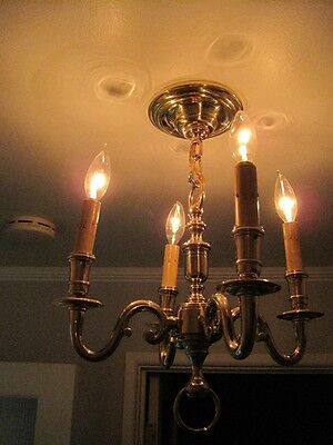 Antique Cast Polished Brass Chandelier 4 Light Scrolled Arms c1920 (2 Available) 12