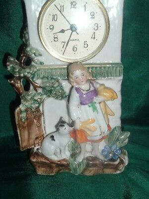 Antique Colorful Porcelain Clock With Dog And Girl 2
