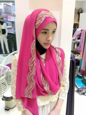 Muslim Women Hijab Rhinestone Long Scarf Islamic Shawls Head Wrap Scarves Shayla 10