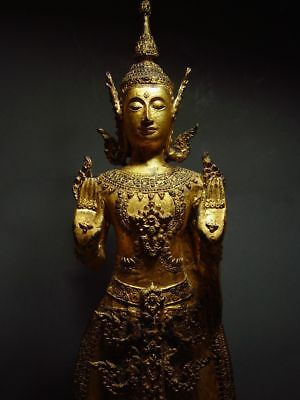 ANTIQUE BRONZE STANDING CROWNED RATTANAKOSIN BUDDHA. TEMPLE RELIC 18/19th C. 12