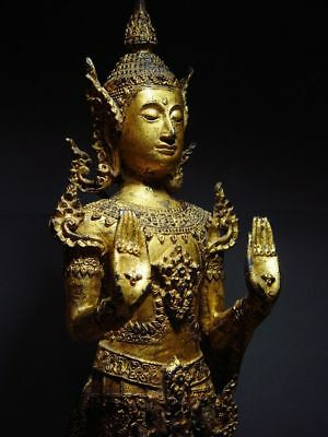 ANTIQUE BRONZE STANDING CROWNED RATTANAKOSIN BUDDHA. TEMPLE RELIC 18/19th C. 11