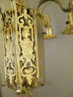 Ornate Heavy Brass Figural Knights Spanish Revival Gothic Tudor Chandelier Light 9