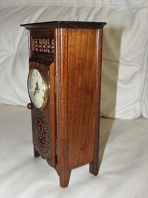 STUNNING ANTIQUE MINIATURE wood MANTLE CLOCK vintage retro uhr 4