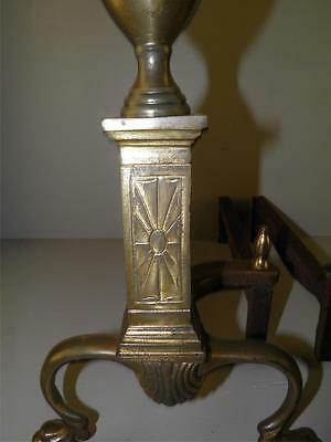 Vintage Brass Classical Paw Feet Fireplace Andirons Marked Bennett 9
