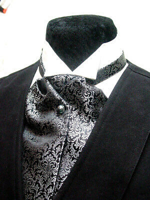 Cravat Ascot Wedding Old West Vintage Victorian style tie Black Green Burgundy