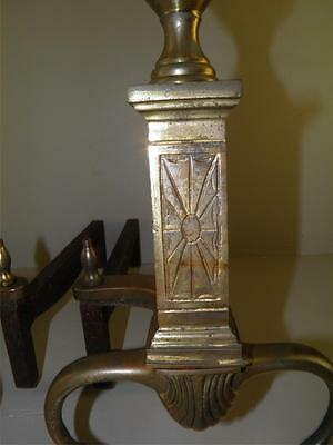 Vintage Brass Classical Paw Feet Fireplace Andirons Marked Bennett 3