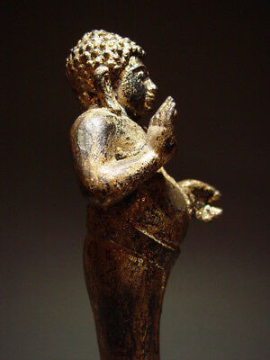 RARE - ANTIQUE BRONZE BUDDHIST DISCIPLE 'PHRA SANGKAJAI' AYUTTHAYA 18/19th C.