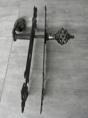 OLD STEEL WROUGHT IRON Handmade LOCK LATCH Decoration of lock. Ornament face 2